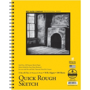 "Bee Paper® Quick Rough Sketch Pad 11"" x 8.5"": Wire Bound, Pad, 100 Sheets, 8.5"" x 11"", Sketching, 50 lb, (model B6075RS100-8511), price per 100 Sheets pad"