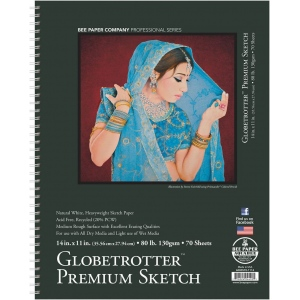 "Bee Paper® Globetrotter Premium Sketch Pad 14"" x 11""; Binding: Wire Bound; Color: White/Ivory; Format: Pad; Quantity: 70 Sheets; Size: 11"" x 14""; Type: Drawing; Weight: 80 lb; (model B6080S70-1114), price per 70 Sheets pad"
