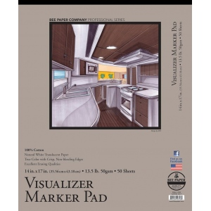 "Bee Paper® Visualizer Marker Pad 14"" x 17""; Binding: Tape Bound; Color: White/Ivory; Format: Pad; Quantity: 50 Sheets; Size: 14"" x 17""; Type: Marker; Weight: 14 lb; (model B637T50-1417), price per 50 Sheets pad"