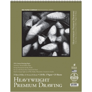 """Bee Paper® Heavyweight Premium Drawing Pad 11"""" x 14""""; Binding: Wire Bound; Format: Pad; Quantity: 25 Sheets; Size: 11"""" x 14""""; Type: Drawing; Weight: 110 lb; (model B810S25-1114), price per 25 Sheets pad"""
