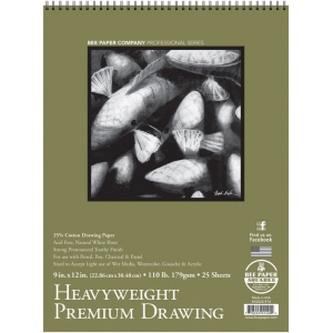"Bee Paper® Heavyweight Premium Drawing Pad 9"" x 12""; Binding: Wire Bound; Format: Pad; Quantity: 25 Sheets; Size: 9"" x 12""; Type: Drawing; Weight: 110 lb; (model B810S25-912), price per 25 Sheets pad"