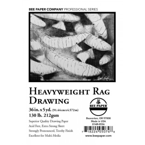"Bee Paper® Heavyweight Rag Drawing Roll 36"" x 5yd; Format: Roll; Size: 36"" x 5 yd; Type: Drawing; Weight: 130 lb; (model B814R-0536), price per roll"