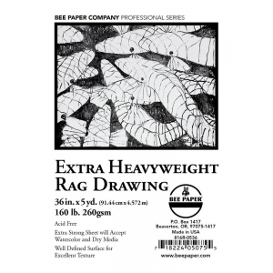 """Bee Paper® Extra Heavyweight Rag Drawing Roll 36"""" x 5yd; Format: Roll; Size: 36"""" x 5 yd; Type: Drawing; Weight: 160 lb; (model B816R-0536), price per roll"""