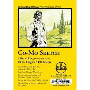 "Bee Paper® Co-Mo Sketch Sheets 12"" x 18""; Color: White/Ivory; Format: Sheet; Quantity: 100 Sheets; Size: 12"" x 18""; Type: Drawing; Weight: 80 lb; (model B820P100-1218), price per 100 Sheets"