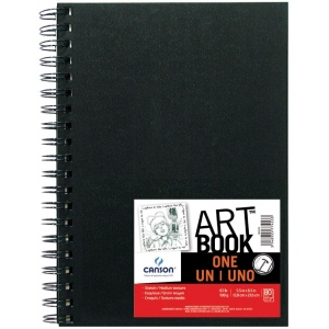 "Canson® ArtBook™ ONE 5.5"" x 8.5"" Wirebound Sketchbook: Wire Bound, White/Ivory, Book, Black/Gray, 80 Sheets, 5 1/2"" x 8 1/2"", Drawing, 67 lb, (model C100516222), price per each"