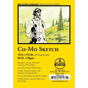 """Bee Paper® Co-Mo Sketch Roll 18"""" x 10yd: White/Ivory, Roll, 18"""" x 10 yd, Drawing, 80 lb, (model B820R-1018), price per roll"""