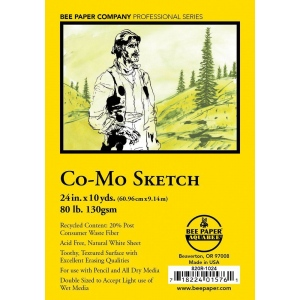"""Bee Paper® Co-Mo Sketch Roll 24"""" x 10yd; Color: White/Ivory; Format: Roll; Size: 24"""" x 10 yd; Type: Drawing; Weight: 80 lb; (model B820R-1024), price per roll"""
