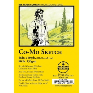 "Bee Paper® Co-Mo Sketch Roll 48"" x 10yd; Color: White/Ivory; Format: Roll; Size: 48"" x 10 yd; Type: Drawing; Weight: 80 lb; (model B820R-1048), price per roll"