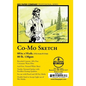"Bee Paper® Co-Mo Sketch Roll 60"" x 10yd; Color: White/Ivory; Format: Roll; Size: 60"" x 10 yd; Type: Drawing; Weight: 80 lb; (model B820R-1060), price per roll"