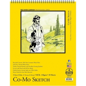 """Bee Paper® Co-Mo Sketch Pad 11"""" x 14"""": Wire Bound, White/Ivory, Pad, 30 Sheets, 11"""" x 14"""", Drawing, 80 lb, (model B820S30-1114), price per 30 Sheets pad"""