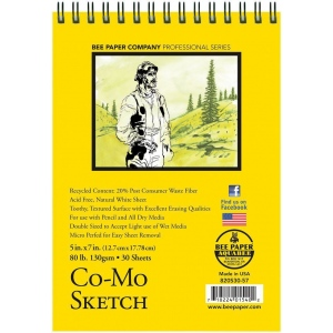 "Bee Paper® Co-Mo Sketch Pad 5"" x 7""; Binding: Wire Bound; Color: White/Ivory; Format: Pad; Quantity: 30 Sheets; Size: 5"" x 7""; Type: Drawing; Weight: 80 lb; (model B820S30-57), price per 30 Sheets pad"