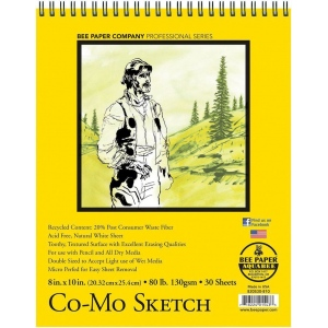"""Bee Paper® Co-Mo Sketch Pad 8"""" x 10"""": Wire Bound, White/Ivory, Pad, 30 Sheets, 8"""" x 10"""", Drawing, 80 lb, (model B820S30-810), price per 30 Sheets pad"""