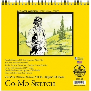 "Bee Paper® Co-Mo Sketch Pad 9"" x 9"": Wire Bound, White/Ivory, Pad, 30 Sheets, 9"" x 9"", Drawing, 80 lb, (model B820S30-909), price per 30 Sheets pad"