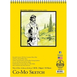 "Bee Paper® Co-Mo Sketch Pad 9"" x 12"": Wire Bound, White/Ivory, Pad, 30 Sheets, 9"" x 12"", Drawing, 80 lb, (model B820S30-912), price per 30 Sheets pad"