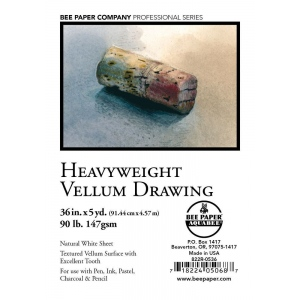 "Bee Paper® Heavyweight Vellum Drawing Roll 36"" x 5yd; Color: White/Ivory; Format: Roll; Size: 36"" x 5 yd; Type: Drawing; Weight: 90 lb; (model B822R-0536), price per roll"