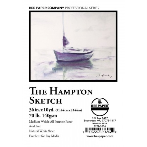 """Bee Paper® The Hampton Sketch Roll 36"""" x 10yd; Color: White/Ivory; Format: Roll; Size: 36"""" x 10 yd; Type: Sketching; Weight: 60 lb; (model B825R-1036), price per roll"""