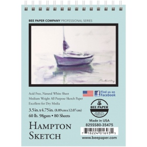 "Bee Paper® Hampton Sketch Pad 3.5"" x 4.75""; Binding: Wire Bound; Color: White/Ivory; Format: Pad; Quantity: 80 Sheets; Size: 3.5"" x 4.75""; Type: Sketching; Weight: 60 lb; (model B825SS80-35475), price per 80 Sheets pad"
