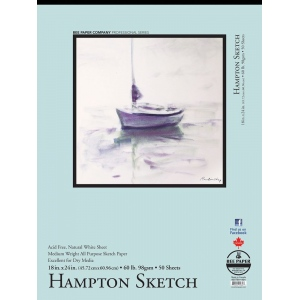 "Bee Paper® Hampton Sketch Pad 18"" x 24"": Tape Bound, White/Ivory, Pad, 50 Sheets, 18"" x 24"", Sketching, 60 lb, (model B825T50-1824), price per 50 Sheets pad"