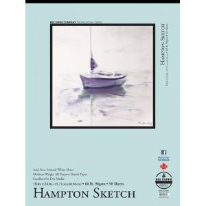 "Bee Paper® Hampton Sketch Pad 18"" x 24"": Tape Bound, White/Ivory, Pad, 50 Sheets, 18"" x 24"", Sketching, 60 lb, (model B825T50-1824), price per 50 Sheets pad"
