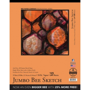 """Bee Paper® Jumbo Bee Sketch Pad 11"""" x 14"""": Tape Bound, White/Ivory, Pad, 125 Sheets, 11"""" x 14"""", Sketching, 50 lb, (model B827T100-1114), price per 125 Sheets pad"""