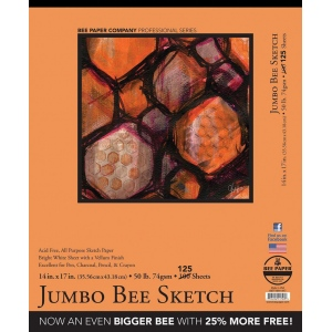 "Bee Paper® Jumbo Bee Sketch Pad 14"" x 17"": Tape Bound, White/Ivory, Pad, 125 Sheets, 14"" x 17"", Sketching, 50 lb, (model B827T100-1417), price per 125 Sheets pad"