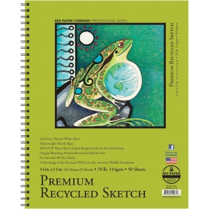 "Bee Paper® Premium Recycled Sketch Pad 14"" x 11""; Binding: Wire Bound; Color: White/Ivory; Format: Pad; Quantity: 50 Sheets; Size: 11"" x 14""; Type: Sketching; Weight: 70 lb; (model B837S50-1114), price per 50 Sheets pad"