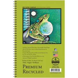 "Bee Paper® Premium Recycled Sketch Pad 8.5"" x 5.5"": Wire Bound, White/Ivory, Pad, 50 Sheets, 5.5"" x 8.5"", Sketching, 70 lb, (model B837S50-5585), price per 50 Sheets pad"