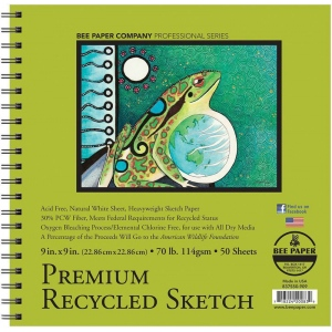 """Bee Paper® Premium Recycled Sketch Pad 9"""" x 9"""": Wire Bound, White/Ivory, Pad, 50 Sheets, 9"""" x 9"""", Sketching, 70 lb, (model B837S50-909), price per 50 Sheets pad"""