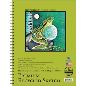 "Bee Paper® Premium Recycled Sketch Pad 12"" x 9""; Binding: Wire Bound; Color: White/Ivory; Format: Pad; Quantity: 50 Sheets; Size: 9"" x 12""; Type: Sketching; Weight: 70 lb; (model B837S50-912), price per 50 Sheets pad"