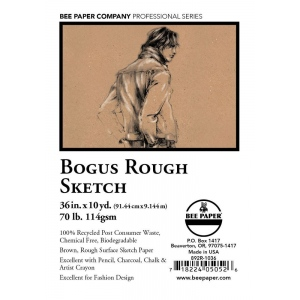 """Bee Paper® Bogus Recycled Rough Sketch Roll 36"""" x 10yd; Color: Brown; Format: Roll; Size: 36"""" x 10 yd; Type: Sketching; Weight: 70 lb; (model B892R-1036), price per roll"""