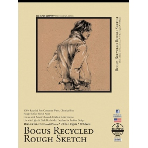"Bee Paper® Bogus Recycled Rough Sketch Pad 18"" x 24"": Tape Bound, Brown, Pad, 50 Sheets, 18"" x 24"", Sketching, 70 lb, (model B892T50-1824), price per 50 Sheets pad"