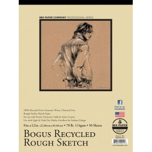 """Bee Paper® Bogus Recycled Rough Sketch Pad 9"""" x 12"""": Tape Bound, Brown, Pad, 50 Sheets, 9"""" x 12"""", Sketching, 70 lb, (model B892T50-912), price per 50 Sheets pad"""