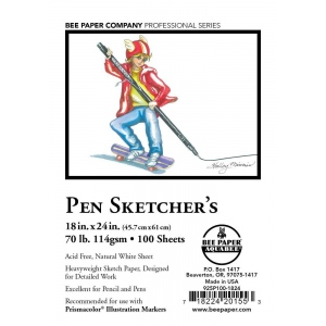 "Bee Paper® Pen Sketcher's Sheets 18"" x 24""; Color: White/Ivory; Format: Pad; Quantity: 100 Sheets; Size: 18"" x 24""; Type: Sketching; Weight: 70 lb; (model B925P100-1824), price per 100 Sheets"