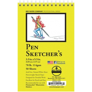 "Bee Paper® Pen Sketcher's Pad 3.5"" x 5.5"": Wire Bound, White/Ivory, Pad, 50 Sheets, 3.5"" x 5.5"", Sketching, 70 lb, (model B925S50-3555), price per 50 Sheets pad"