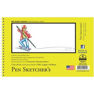 "Bee Paper® Pen Sketcher's Pad 5.5"" x 8.5""; Binding: Wire Bound; Color: White/Ivory; Format: Pad; Quantity: 50 Sheets; Size: 5.5"" x 8.5""; Type: Sketching; Weight: 70 lb; (model B925S50-5585), price per 50 Sheets pad"