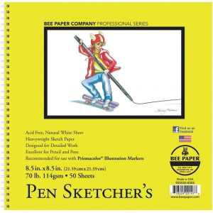 "Bee Paper® Pen Sketcher's Pad 8.5"" x 8.5"": Wire Bound, White/Ivory, Pad, 50 Sheets, 8.5"" x 8.5"", Sketching, 70 lb, (model B925S50-8585), price per 50 Sheets pad"