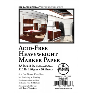 """Bee Paper® Acid-Free Heavyweight Marker Paper Sheets 8.5"""" x 11"""": White/Ivory, Sheet, 50 Sheets, 8.5"""" x 11"""", Marker, 110 lb, (model B926P50-8511), price per 50 Sheets"""