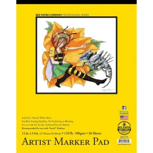 "Bee Paper® Artist Marker Pad 11"" x 14"": Tape Bound, White/Ivory, Pad, 30 Sheets, 11"" x 14"", Marker, 110 lb, (model B926T30-1114), price per 30 Sheets pad"