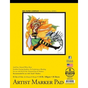 "Bee Paper® Artist Marker Pad 8.5"" x 11""; Binding: Tape Bound; Color: White/Ivory; Format: Pad; Quantity: 30 Sheets; Size: 8.5"" x 11""; Type: Marker; Weight: 110 lb; (model B926T30-8511), price per 30 Sheets pad"
