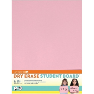 "Crescent® Light Pink Dry Erase Board; Color: Red/Pink; Format: Board; Size: 9"" x 12""; Texture: Smooth; Type: Dry Erase; (model C12-402), price per each"