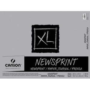 "Canson® XL® 18"" x 24"" Newsprint 50-Sheet Pad (Fold Over); Binding: Fold Over; Color: White/Ivory; Format: Pad; Size: 18"" x 24""; Texture: Rough; Type: Newsprint; Weight: 30 lb; (model C400026820), price per pad"
