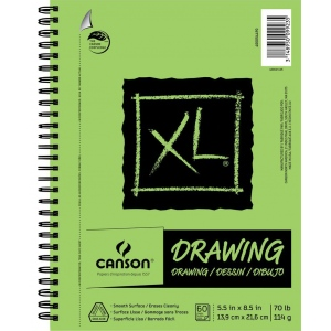 """Canson® XL® 5 1/2"""" x 8 1/2"""" Drawing Pad (Side Wire); Binding: Wire Bound; Color: White/Ivory; Format: Pad; Size: 5 1/2"""" x 8 1/2""""; Texture: Smooth; Type: Drawing; Weight: 70 lb; (model C400054490), price per pad"""