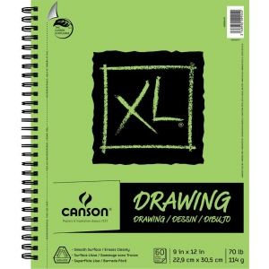 "Canson® XL® 9"" x 12"" Drawing Pad (Side Wire); Binding: Wire Bound; Color: White/Ivory; Format: Pad; Size: 9"" x 12""; Texture: Smooth; Type: Drawing; Weight: 70 lb; (model C400054491), price per pad"
