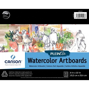 "Canson® Plein Air 8"" x 10"" Plein Air Watercolor Artboard Pad (Glue Bound); Binding: Glue Bound; Color: White/Ivory; Format: Pad; Size: 8"" x 10""; Texture: Cold Press; Type: Watercolor; Weight: 140 lb; (model C400061697), price per pad"