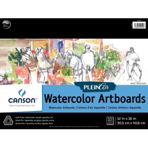 "Canson® Plein Air 12"" x 16"" Plein Air Watercolor Artboard Pad (Glue Bound); Binding: Glue Bound; Color: White/Ivory; Format: Pad; Size: 12"" x 16""; Texture: Cold Press; Type: Watercolor; Weight: 140 lb; (model C400061699), price per pad"