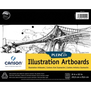 """Canson® Plein Air 8"""" x 10"""" Plein Air Illustration Artboard Pad (Glue Bound); Binding: Glue Bound; Color: White/Ivory; Format: Pad; Size: 8"""" x 10""""; Texture: Ultra Smooth; Type: Illustration; Weight: 150 lb; (model C400061733), price per pad"""