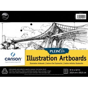 "Canson® Plein Air 9"" x 12"" Plein Air Illustration Artboard Pad (Glue Bound); Binding: Glue Bound; Color: White/Ivory; Format: Pad; Size: 9"" x 12""; Texture: Ultra Smooth; Type: Illustration; Weight: 150 lb; (model C400061734), price per pad"