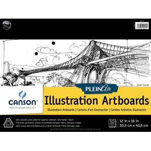 "Canson® Plein Air 12"" x 16"" Plein Air Illustration Artboard Pad (Glue Bound); Binding: Glue Bound; Color: White/Ivory; Format: Pad; Size: 12"" x 16""; Texture: Ultra Smooth; Type: Illustration; Weight: 150 lb; (model C400061735), price per pad"