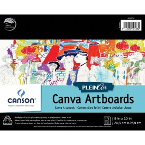 "Canson® Plein Air 8"" x 10"" Plein Air Canva-Paper Artboard Pad (Glue Bound); Binding: Glue Bound; Color: White/Ivory; Format: Pad; Size: 8"" x 10""; Texture: Canvas; Type: Canvas; Weight: 136 lb; (model C400061736), price per pad"