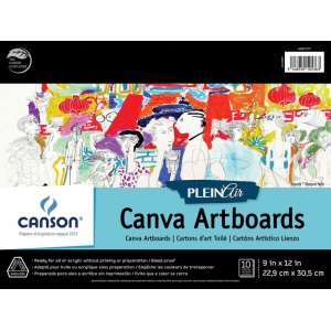 """Canson® Plein Air 9"""" x 12"""" Plein Air Canva-Paper Artboard Pad (Glue Bound); Binding: Glue Bound; Color: White/Ivory; Format: Pad; Size: 9"""" x 12""""; Texture: Canvas; Type: Canvas; Weight: 136 lb; (model C400061737), price per pad"""